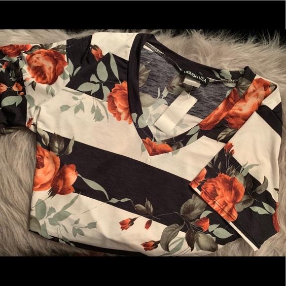 Adorable Floral/Stripe Print Top